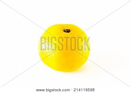 The mandarine on the white background. The mandarine is isolated on white and a clipping path is provided for easy extraction.