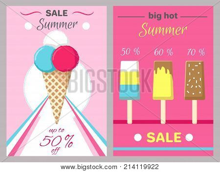 Big hot summer posters set with ice cream in waffle cones and on wooden stick vector illustration banners set on pink background, up to 50 discount