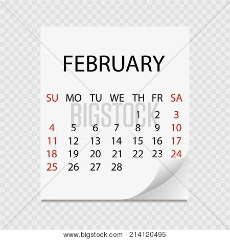 Monthly Calendar 2018 With Page Curl. Tear-off Calendar For February. White Background. Vector Illus