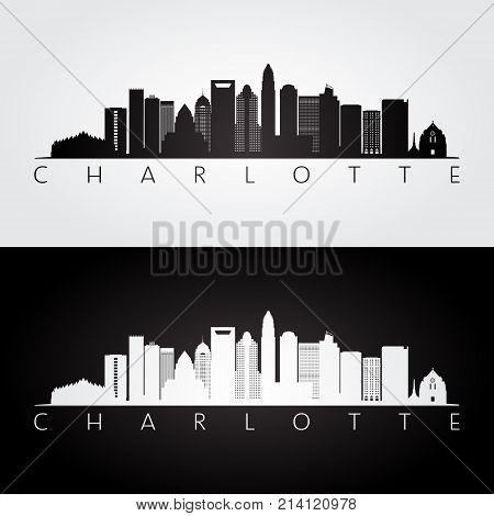 Charlotte usa skyline and landmarks silhouette black and white design vector illustration.