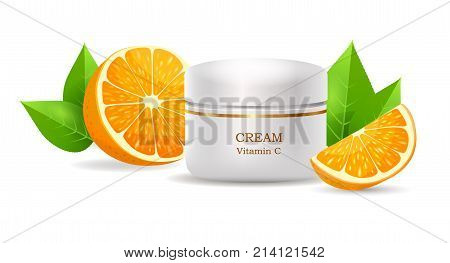 Cream with vitamin C in glossy tube near sliced oranges and leaves realistic vector on white background. Container with cosmetic product illustration for skin care, makeup and woman beauty concept