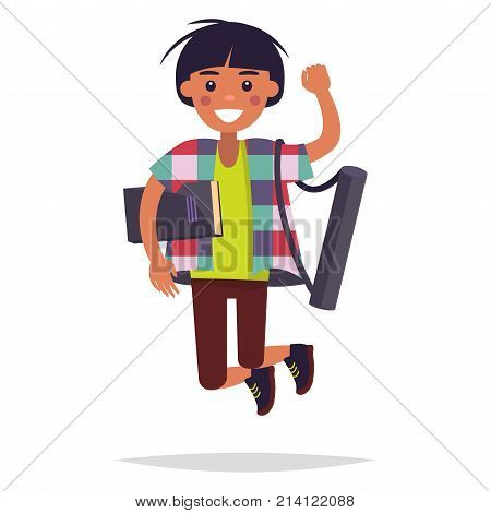 Jumping Injun boy student with book and tube for whatman paper isolated on white background. Happiness and cheer expression vector illustration. Reaction for successful exams passing in art school.