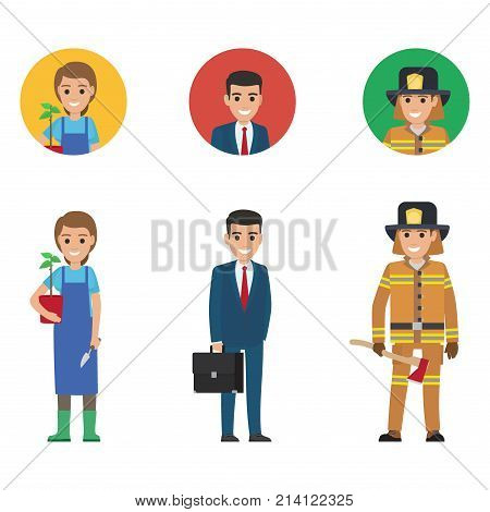 Gardener woman in rubber boots with plant and knife, young manager holding black suitcase and lifesaver keeping long axe vector illustration