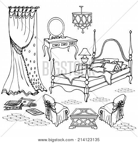 set of vintage furniture for the ladies' bedroom with curtains armchairs lamp pillows dressing table and elegant bed with a sleigh black vektor on white background