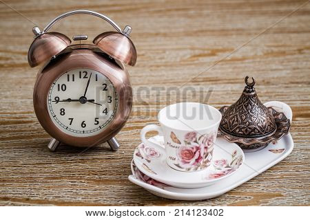 Turkish Style Coffee Set And Alarm Clock