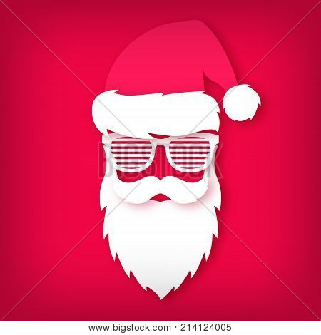 Paper Santa Claus with glasses shutter shades on red background. Paper art. Christmas illustration.