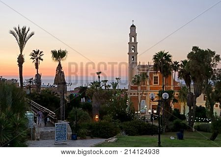 TEL AVIV, ISRAEL - OCTOBER 17, 2017: The St. Peters church in old Jaffa in Tel Aviv on the sunset