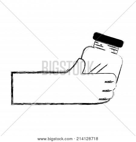 figure hand with crystal jar to save things vector illustration