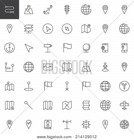 Map pointer, gps marker line icons set, outline vector symbol collection, linear style pictogram pack. Signs, logo illustration. Set includes icons as location, placeholder, route, navigation, pin