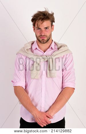 Man With Serious Face Isolated On White Background