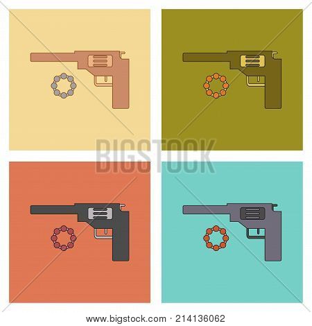 assembly of flat icons Kids toy pistol