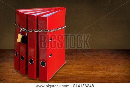 Chain lock file folders white background paper