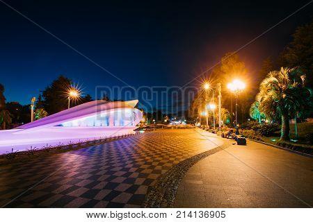 Batumi, Adjara, Georgia. Civil Registration On Batumi Boulevard In Night Illuminations Lights. poster