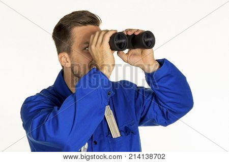 craftsman with binoculars