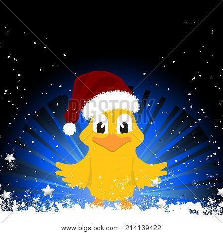 Cute Christmas Chick with Santa Hat on Black and Blue Background with Snow and Stars