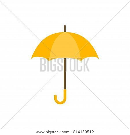 Yellow umbrella icon. Yellow umbrella isolated on white background. Umbrella in cartoon style