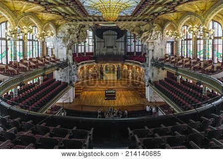 BARCELONA, SPAIN - MAY 17, 2017: This is the concert hall of the Palace of Catalan Music in the Art Nouveau style which is the only hall in Europe with natural light.
