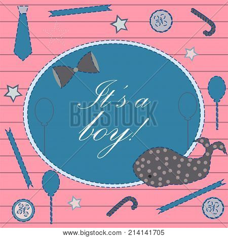 Baby Boy Birth announcement. Baby shower invitation card. Cute whale announces the arrival of boy. Card Design on Teal Background with ribbons tie bow etc. Modern Design. Vector Illustration.