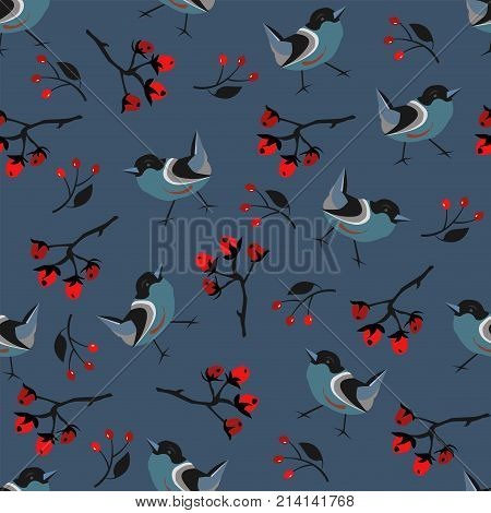 Bird Seamless Pattern. Bullfinch birds on dark background with red berries of rowan and brier. Winter/Merry Christmas Collection.Vector Illustration.