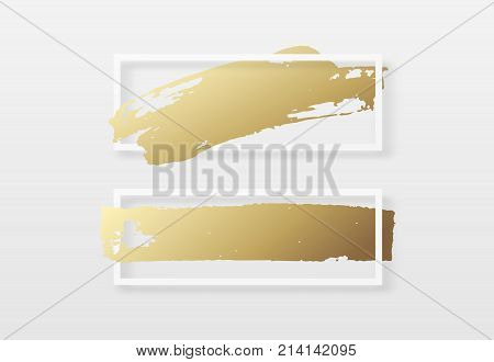 Brush golden stroke texture in a frame. Brush gold watercolor background. Design for headline and sale banner.
