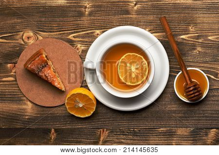 Hot Beverage With Sugar Cubes On Wooden Background.