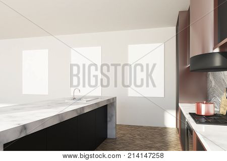 White And Marble Kitchen Countertop, Posters