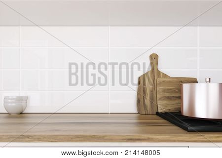 Wooden Kitchen Countertop Close Up
