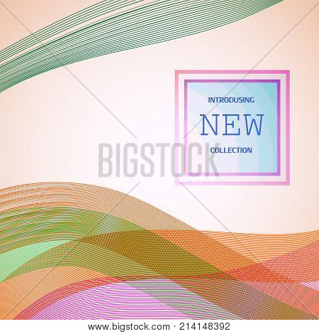 Abstract Modern Line. Abstract Smooth Lines Of Different Colors In Dynamic Style With Text. Vector B