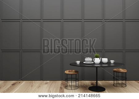 Small Gray Dining Room Interior