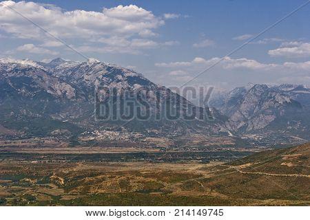 View of Prokletije mountains, a mountain range on the western Balkan peninsula in Albania