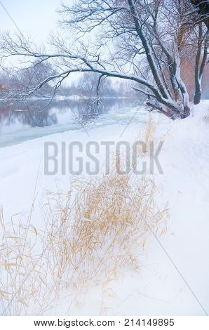 snowfall on the background of a winter river with snow covered banks