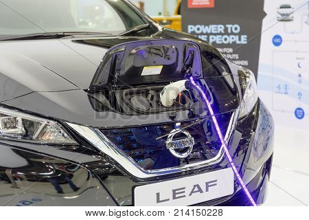 ATHENS, GREECE - NOVEMBER 14, 2017: Nissan Leaf charging at Aftokinisi-Fisikon 2017 Motor Show.