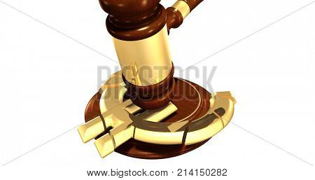 Currency Symbol Cracked With A Gavel Law Concept 3D Illustration
