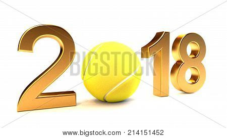Tennis ball and 2018 year on a White Background