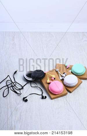 Music, Mp3 With Earphones And Macaron.