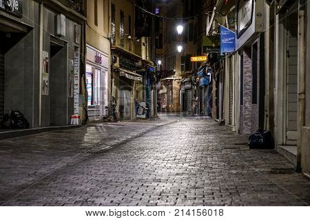 NICE - APRIL 8 : Night view in Nice under twilight evening sky, France, on April 8, 2017