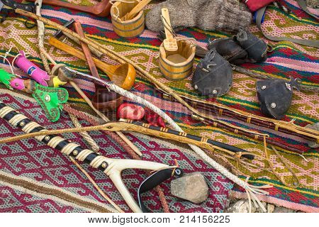 Mongolian handicrafts selling on the street market.