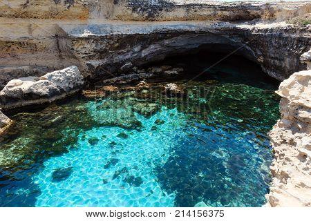 Cavern Grotta Della Poesia, Roca Vecchia, Salento Sea Coast, Italy