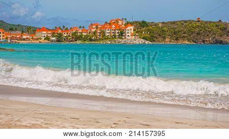 Scenery from Saint Martin's Beach in Caribbean sea