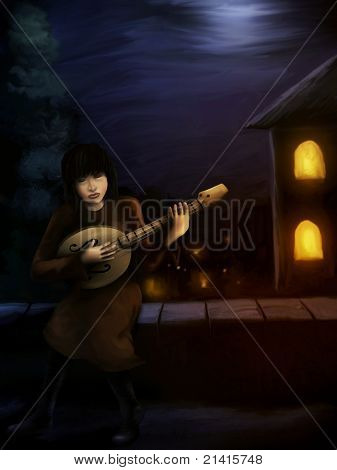 Mittelalterliche Gitarrist