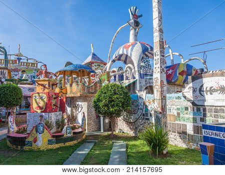 Havana, Cuba-08 October, 2016. Part of the garden of the house covered by mosaic tiles on 08 of October 2016 in Havana, Cuba, more commonly known as Fusterlandia for the colorful mosaics.