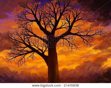 Baum auf einem warmen Sonnenuntergang-Himmel-Malerei