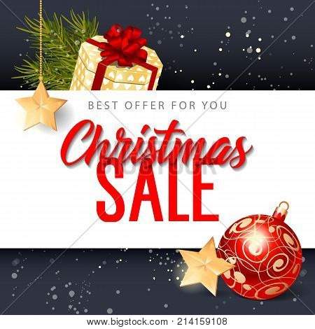 Best Offer for You Christmas Sale lettering. Christmas invitation with bauble and gift box. Handwritten and typed text, calligraphy. For invitations, posters, leaflets and brochures.