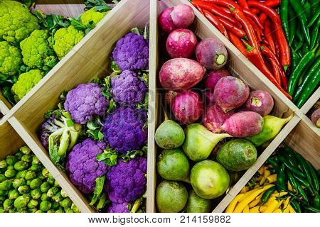 Top View Assortment Of Fresh Vegetables At Market Counter, Vegetable Shop, Farmer Marketplace. Organ