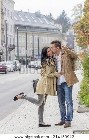 loving couple on a city stroll