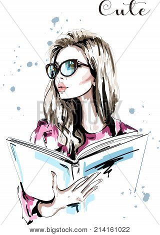 Hand drawn beautiful woman with book. Fashion woman in eyeglasses. Stylish blond hair girl portrait. Sketch. Vector illustration.