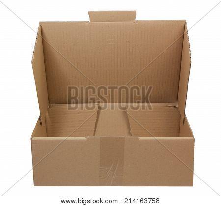 Empty Cardboard Box on Isolated White Background