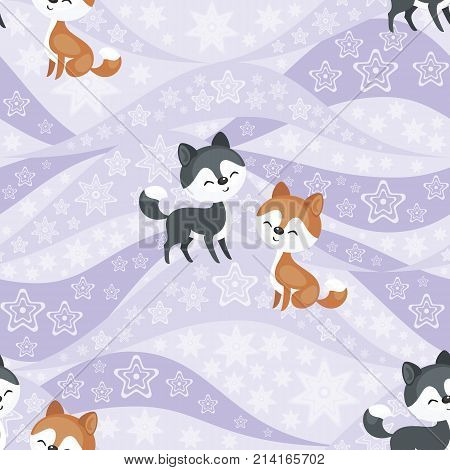 Seamless pattern with the image of the Eskimo people and  husky dogs. Vector background.