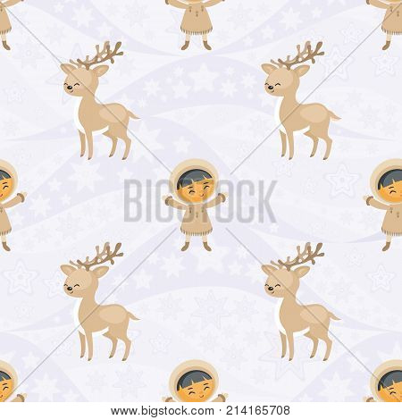 Seamless pattern with the image of the Eskimo people and of reindeers husky dogs. Vector background.