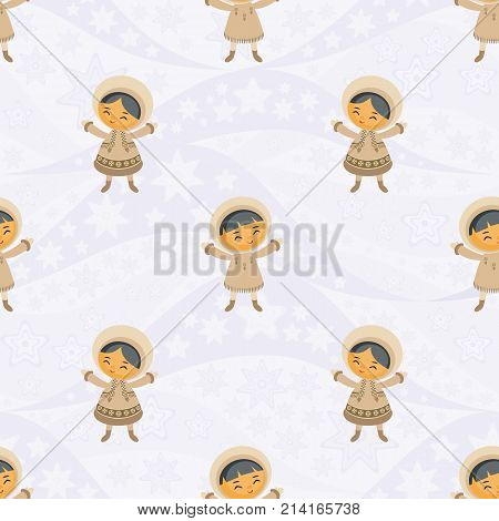 Seamless pattern with the image of the Eskimo people. Vector background.